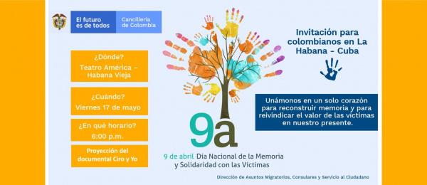 El Consulado de Colombia en La Habana invita a la conmemoración del Día Nacional de la Memoria y la Solidaridad con las Víctimas, el 17 de mayo de 2019